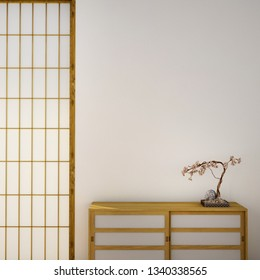 interior design, living room with table,wood floor and tatami mat and traditional japanese door on best window view ,was designed specifically in Japanese style, 3d illustration, 3d rendering