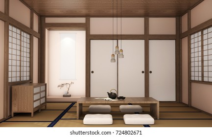 interior design living room with table,wood floor,was designed specifically in Japanese style, 3d illustration, 3d rendering