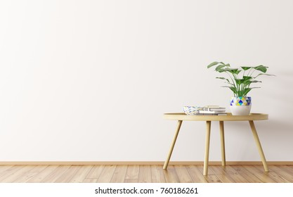 Interior design of living room with wooden round coffee table and houseplant 3d rendering