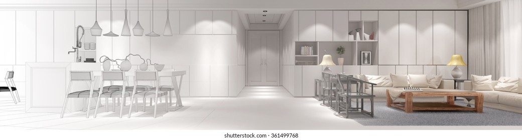 Interior design of loft with gradient from CAD blueprint to 3D Rendering