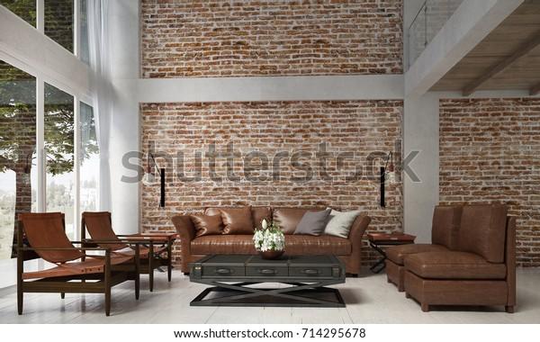 Interior Design Lounge Living Room Leather Stock Illustration