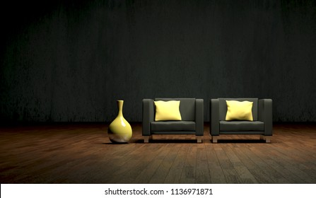 Interior design modern bright room with armchair 3d Illustration
