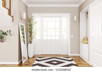 Interior design of modern hallway with doors and staircase 3d rendering
