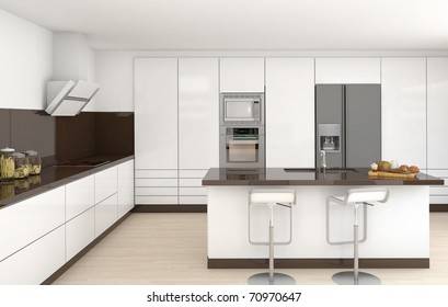 interior design of a modern kitchen in white and brown colors frontal view