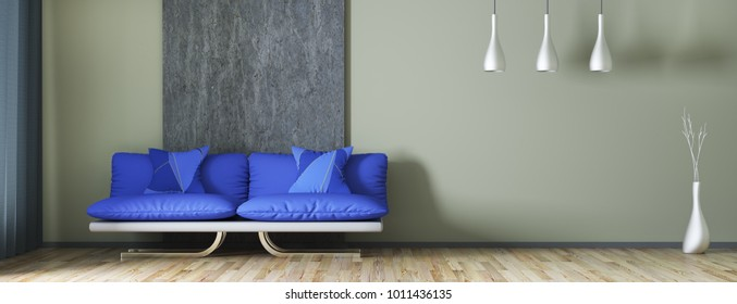 Interior design of modern living room with sofa, panorama 3d rendering