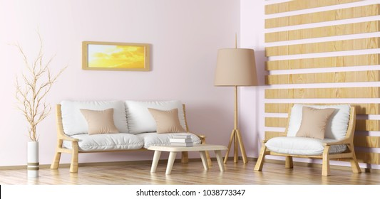 Interior design of modern living room with sofa, armchair, coffee table and floor lamp, 3d rendering