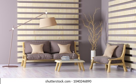 Inneneinrichtung des modernen Wohnzimmers mit Sofa, Sessel, Couchtisch und Bodenlampe, 3D-Rendering