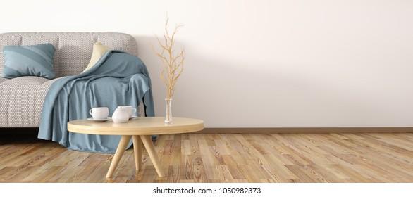 Interieur-Design des modernen Wohnzimmers mit Sofa, Couchtisch 3D Rendering