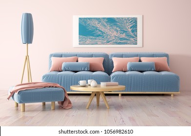 Interior design of modern living room with sofa, coffee table and floor lamp, 3d rendering