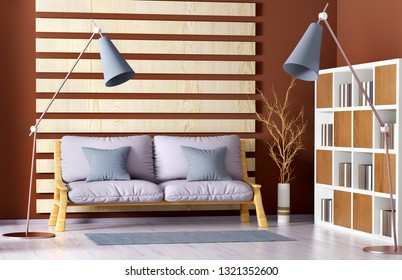Interior design of modern living room with sofa, bookcase and floor lamp, 3d rendering