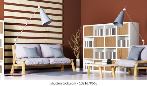 Interior design of modern living room with sofa, armchair, bookcase, coffee table and floor lamp, 3d rendering
