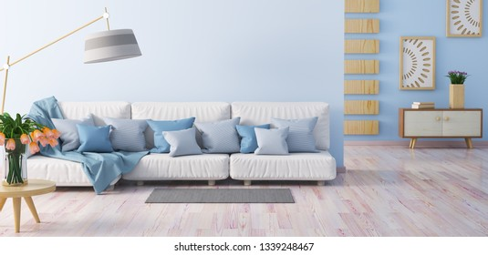Interior design of modern living room with white sofa, blue walls, coffee table with tulips and cabinet, 3d rendering
