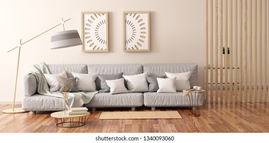 Interior design of modern living room with gray sofa, coffee table with books and cabinet, 3d rendering