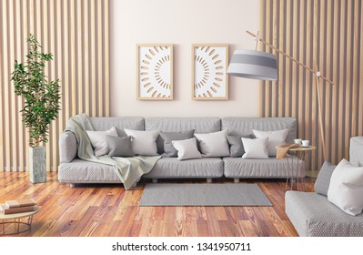 Interior design of modern living room with gray sofa, coffee table with books and plant, 3d rendering