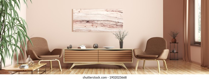 Interior design of modern living room. Wooden sideboard and two armchairs, home 3d rendering