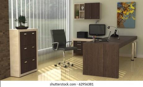 Interior design for Modern office corner in a warm morning sunlight