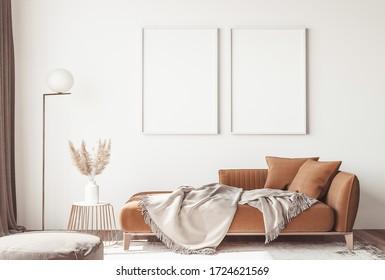 Interior design of modern Scandinavian apartment, living room in orange and beige colors, 3D rendering, 3D illustration