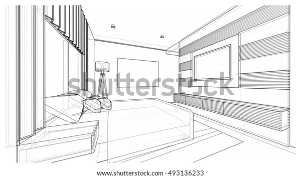 Interior Design Modern Style Bedroom 3d Stock Illustration ... on how to wire a room, bedroom photography diagram, rewiring a living room diagram, how to diagram a room,