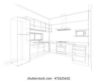 Interior Design Sketch Kitchen High Res Stock Images Shutterstock