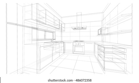 Drawing For Kitchen Design Images Stock Photos Vectors