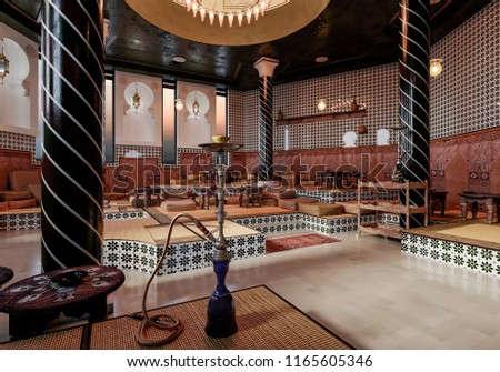 Interior Design In Moroccan Style. Oriental Style In The Interior. Hookah  Hall In Oriental