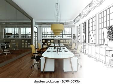 Interior Design Office Drawing Gradation Into Photograph 3D Illustration