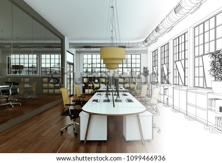 Interior Design Office Drawing Gradation Into Photograph 3D Illustration & Interior Design Office Drawing Gradation Into Stock Illustration ...