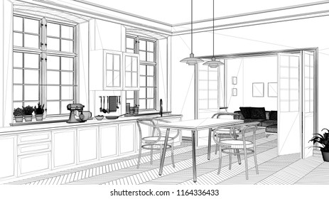 Interior design project, black and white ink sketch, architecture blueprint showing contemporary kitchen with dining table, 3d illustration