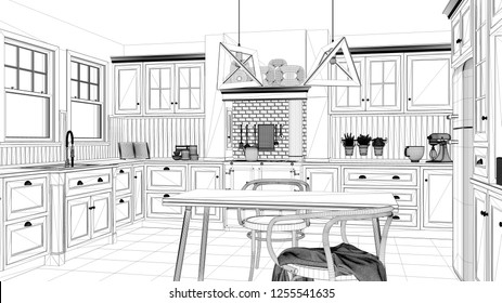 Interior design project, black and white ink sketch, architecture blueprint showing classic kitchen with dining table and chairs, windows and morning light, contemporary architecture, 3d illustration
