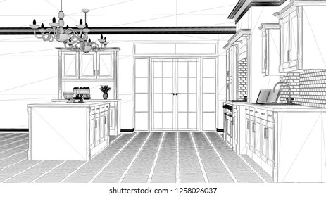 Interior design project, black and white ink sketch, architecture blueprint showing classic vintage luxury kitchen, island with big chandeliers and window, contemporary architecture, 3d illustration