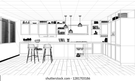Interior design project, black and white ink sketch, architecture blueprint showing modern kitchen, island with stools and accessories, contemporary architecture, 3d illustration
