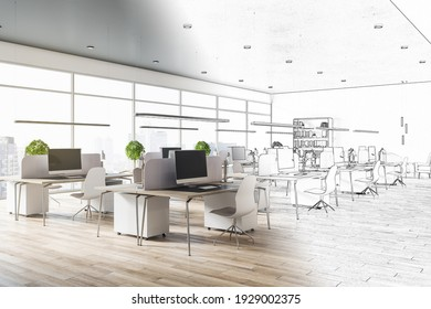 Interior design project with blueprint of spacious eco style coworking office with city view and light furniture. 3D rendering