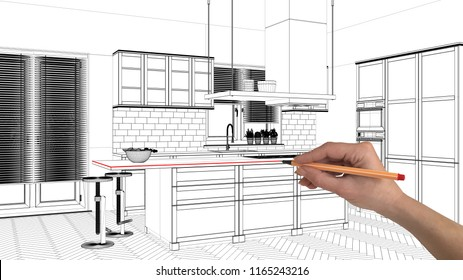 Interior design project concept, hand drawing custom architecture, black and white ink sketch, blueprint showing modern kitchen with island, 3d illustration