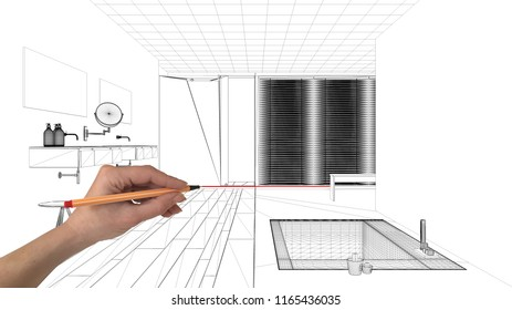 Interior design project concept, hand drawing custom architecture, black and white ink sketch, blueprint showing modern bathroom with bathtub, 3d illustration