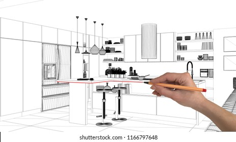 Interior design project concept, hand drawing custom architecture, black and white ink sketch, blueprint showing modern kitchen with island and stools, 3d illustration