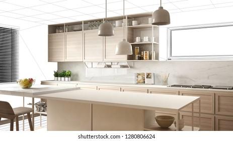 Interior design project draft, work in progress concept idea, real modern white and wooden kitchen in sketched background, architect designer project desktop screen-shot, 3d illustration