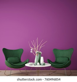 interior design for reception area in modern style with plant , armchair ,table and many props on wood floor and purple wall /3d rendering/3d illustration