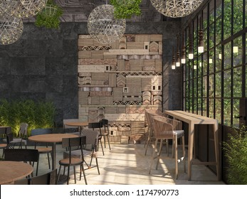 The interior design of the restaurant is loft style. Tables with chairs on the background of a black wall with a decorative 3D panel of stone blocks. 3D visualization.