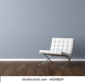 Interior design scene with a modern white chair and lamp on blue wall, copy space in the wall