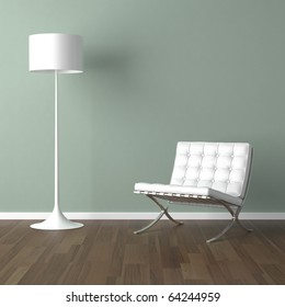interior design scene with a white modern chair and lamp on a pale green wall