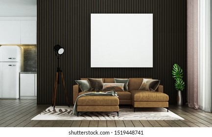 The interior design space of modern living room and pantry area and black texture wall background and picture frame / 3D rendering new scene