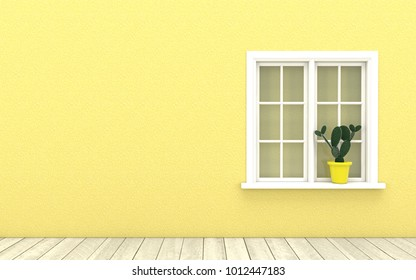 Interior design with white classic window,cactus flower pot and wooden floor on yellow wall background.Image mock up for advertising ,wallpaper and backdrop in 3d illustration.