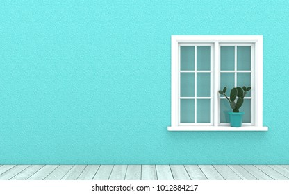 Interior design with white window,cactus pot and wooden floor on blue bright turquoise color wall background.Image mock up for advertising ,wallpaper and backdrop in 3d rendering,3d illustration.