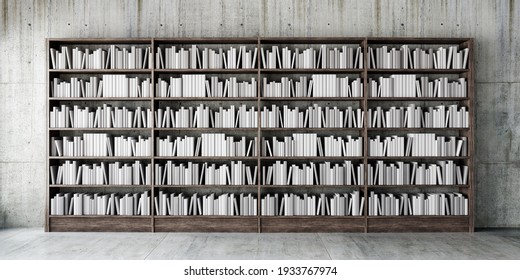 Interior design with wooden bookshelf full of books 3D Rendering, 3D Illustration