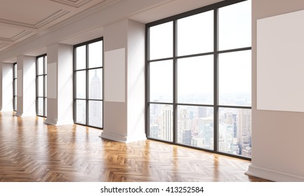 Interior design with wooden floor, blank posters on columns and windows with New York city view. Mock up, 3D Rendering