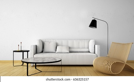 Interior design,Living area interior design , empty white wall in modern style with lamp,sofa,designer chair,table,side table , 3d rendering