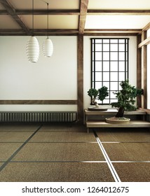 interior design,modern living room with bonsai tree on table,tatami mat floor.3D rendering