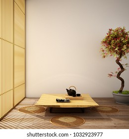 interior design,modern living room with table,wood floor and tatami mat and traditional japanese door ,was designed specifically in Japanese style, 3d illustration,