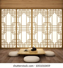interior design,modern living room with table,wood floor and tatami mat and traditional Korean style door on best window view ,was designed specifically in  Korean style, 3d illustration