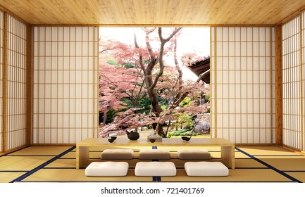interior design,modern living room with table,wood floor,was designed specifically in Japanese style, 3d illustration